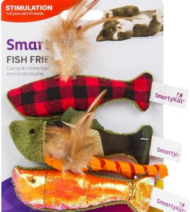 SmartyKat Fish Friends Crinkle &Catnip Fish Toys For Cats